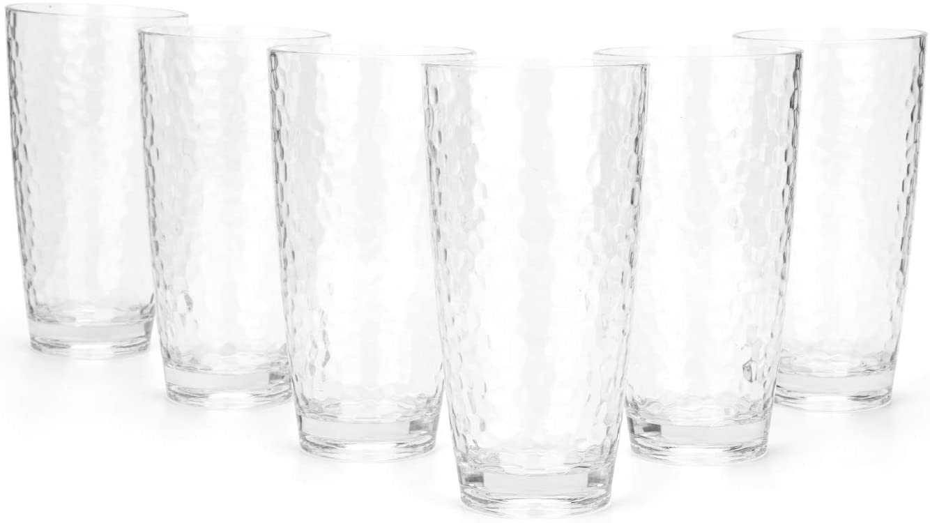 Hammered 26-ounce Plastic Tumbler Acrylic Glasses, set of 6 Clear