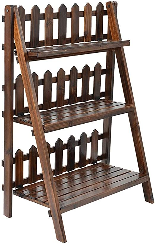 CRRQQ Planta Escalera de Bambú Soporte de Madera de 3 Niveles Plegable Organizador Flor Estante Estante de exhibición para el hogar Patio Césped Jardín Balcón Titular / 26x14.6x39.4inches: Amazon.es: Hogar