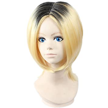 COSPLAZA Cosplay Wigs Halloween Haikyu!! Kenma Kozume Blonde Mixed Black Party Anime Hair