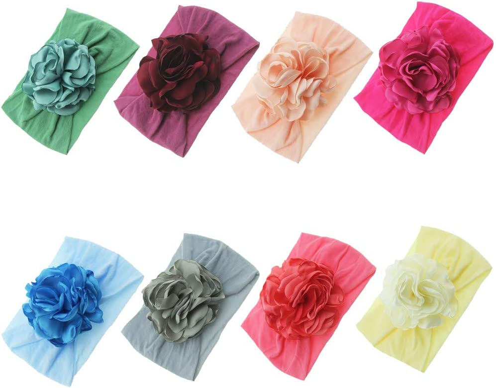 Multicolor Bset2 Baby Girls Nylon Turban Headbands Newborn Infant Toddler Hairbands Bow Knotted Children Soft Headwrap Hair Accessories