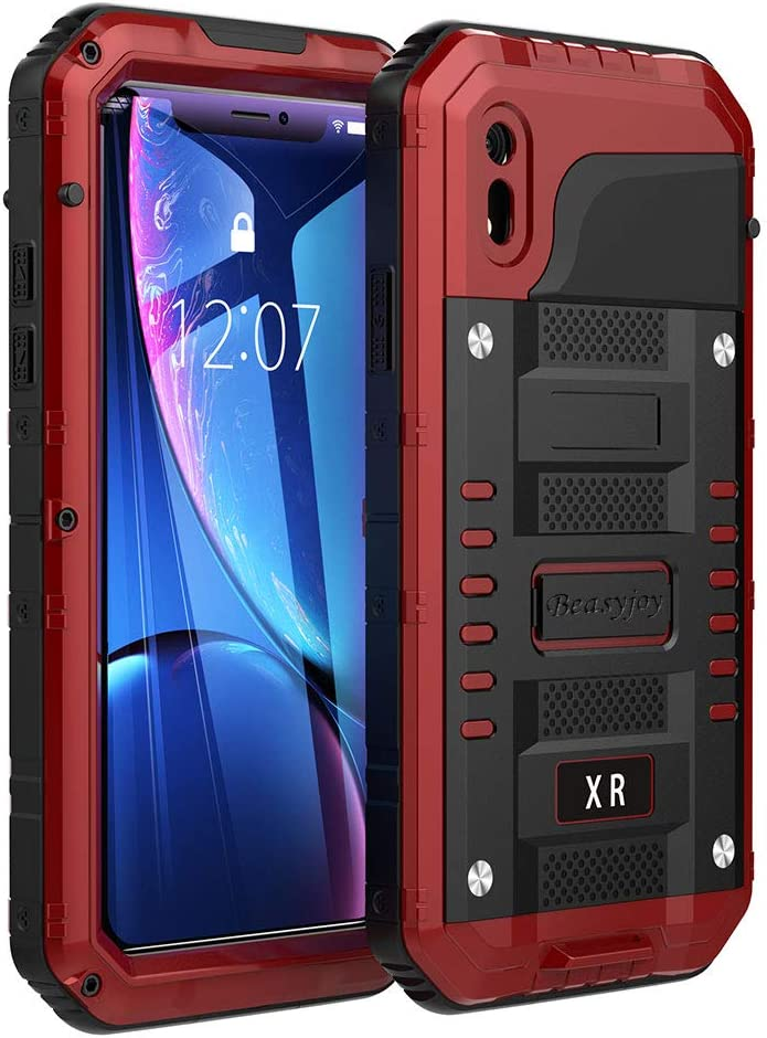 Beasyjoy iPhone XR Metal Case Heavy Duty with Screen Full Body Protective Waterproof Shockproof Tough Rugged Hybrid Military Grade Defender Outdoor(Red)