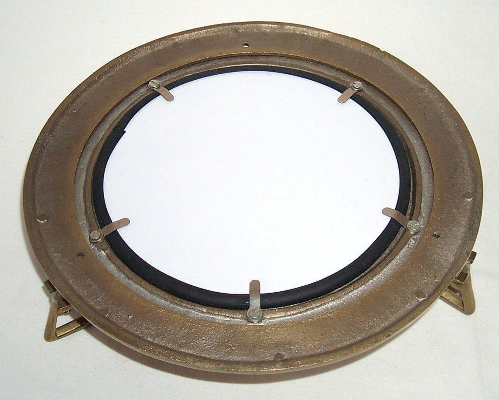 G231: Bullauge mit Spiegel brüniert Aluminium gebürstet maritimer Wandspiegel