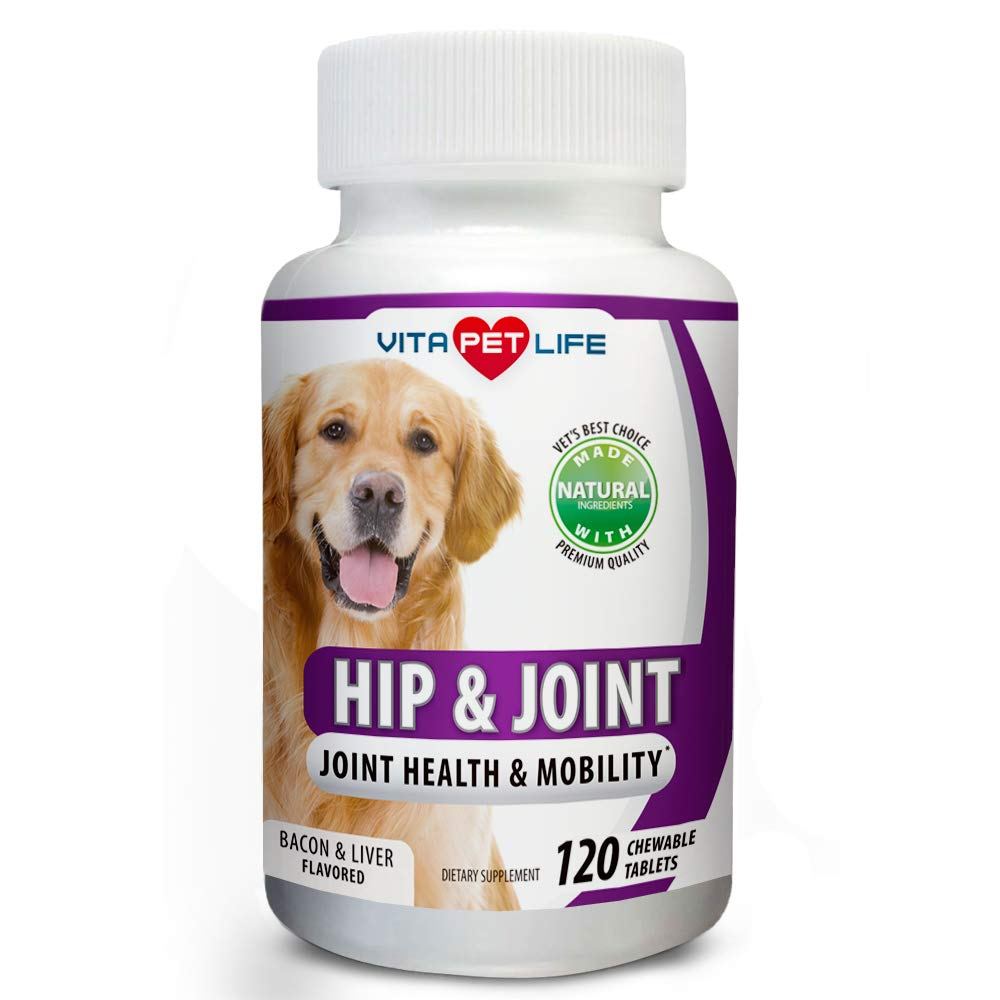 Glucosamine for Dogs, Hip and Joint Support for Dogs, MSM, Chondroitin, Pain Relief from Arthritis, Joint Inflammation and Dysplasia, for Healthy Cartilage and Mobility, 120 Natural Chew-able Tablets.
