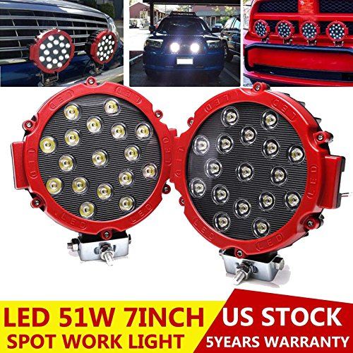(2PCS Red 7 Inch LED Offroad Pod Lights Bar 51W Round Spot Beam Driving Fog Light with Mounting Bracket, Bumper Headlight Spotlight for Jeep, Truck, Boat, Car, ATV, SUV, Construction, Camping)