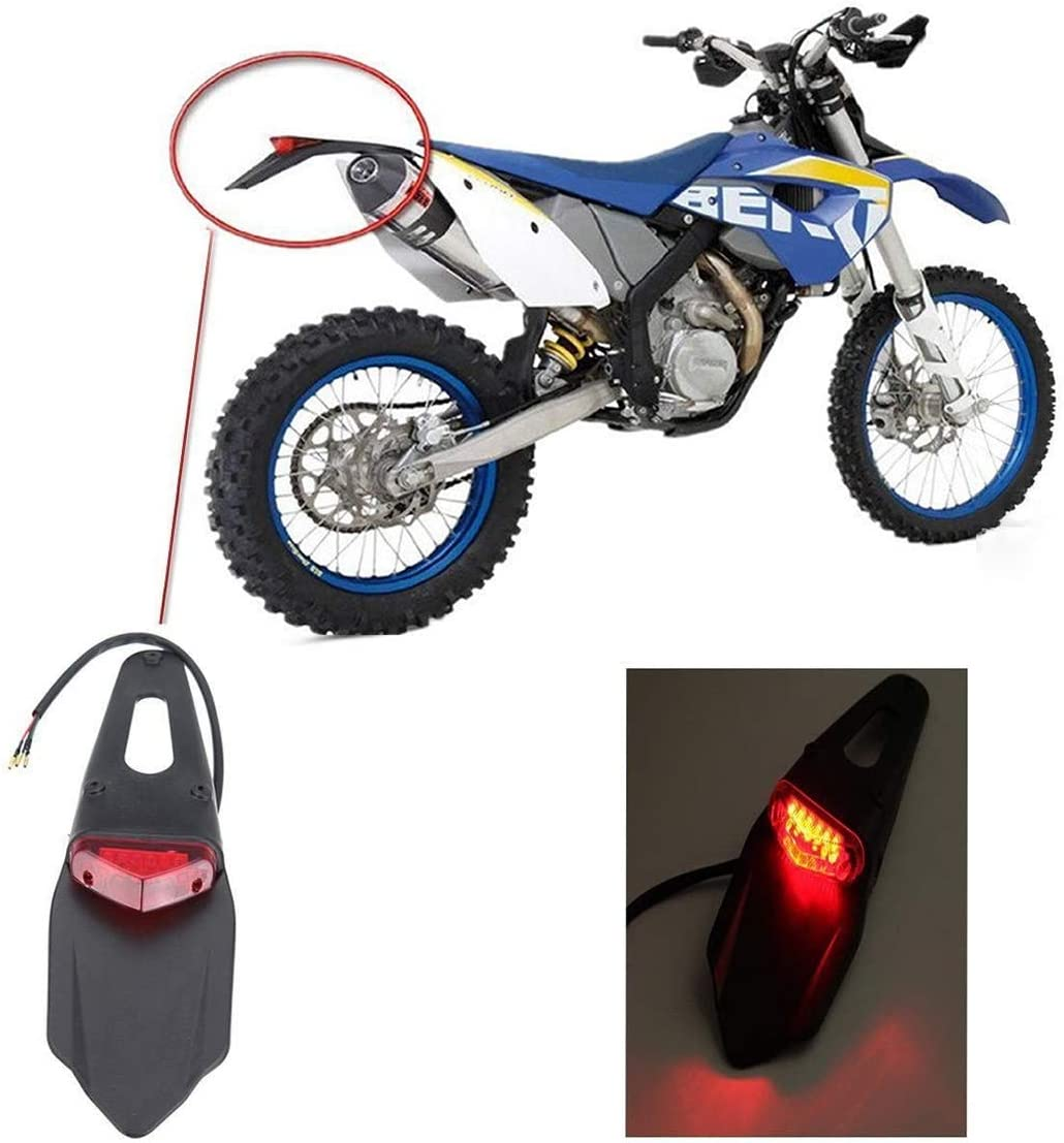 Moto LED Feu Rouge Feu Arri/ère pour Supermoto Motocyclette Tout-Terrain Motocross Verre Transparent