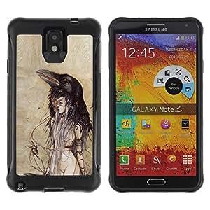 Suave TPU Caso Carcasa de Caucho Funda para Samsung Note 3 / Woman Watercolor Parchment / STRONG