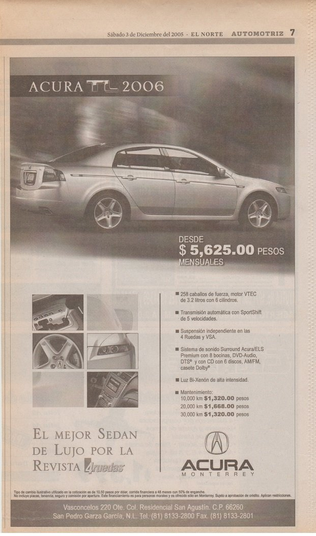 Amazon.com : 2006 ACURA RL, TL & MDX - LOT OF 5 NEWSPAPER AD ADS (MEXICO) - 3 ARE LARGE - SPANISH!! : Other Products : Everything Else