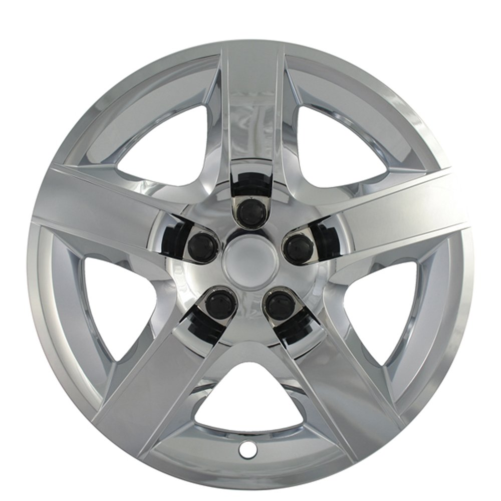 Hubcaps for Chevy Malibu (Pack of 4) Wheel Covers - 17 Inch, 5 Spoke, Snap On, Chrome by OxGord (Image #2)