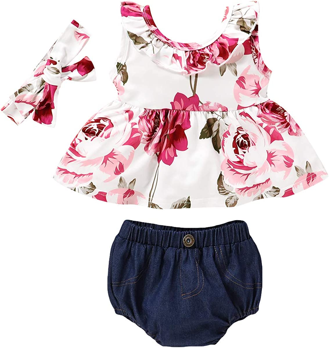 Baby Girls Floral Outfits Backless Tank Tops+Shorts Bloomer Clothing Set