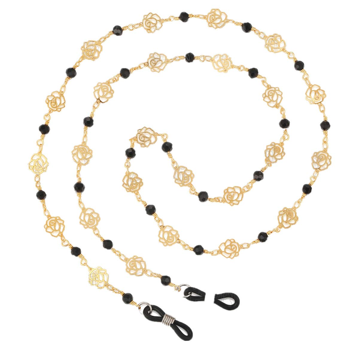 Stainless steel Eyeglass Chain Sunglasses Holder Strap Eyewear Lanyard (Golden Flower)