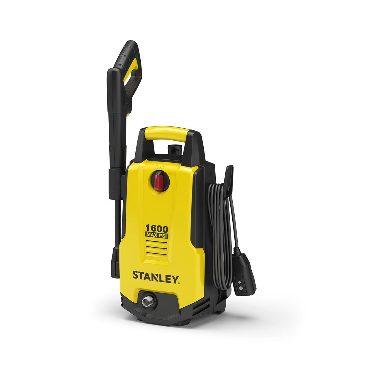Stanley SHP1600 1600 Psi Electric Pressure Washer with Vari-Spray Nozzle, Wand, Spray Gun, 20' Hose & Detergent Bottle, Yellow by Stanley