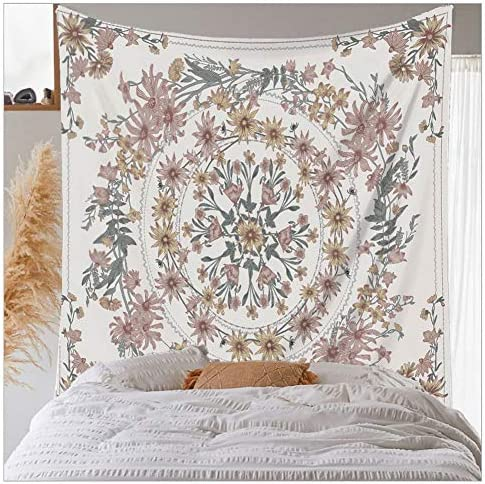 Floral Bohemian Tapestry Mandala Tapestry Classic print upholstered tapestry Home decoration wall cloth living room wall decoration qianfen, 70.8 H x 90.5 W 180 * 230cm