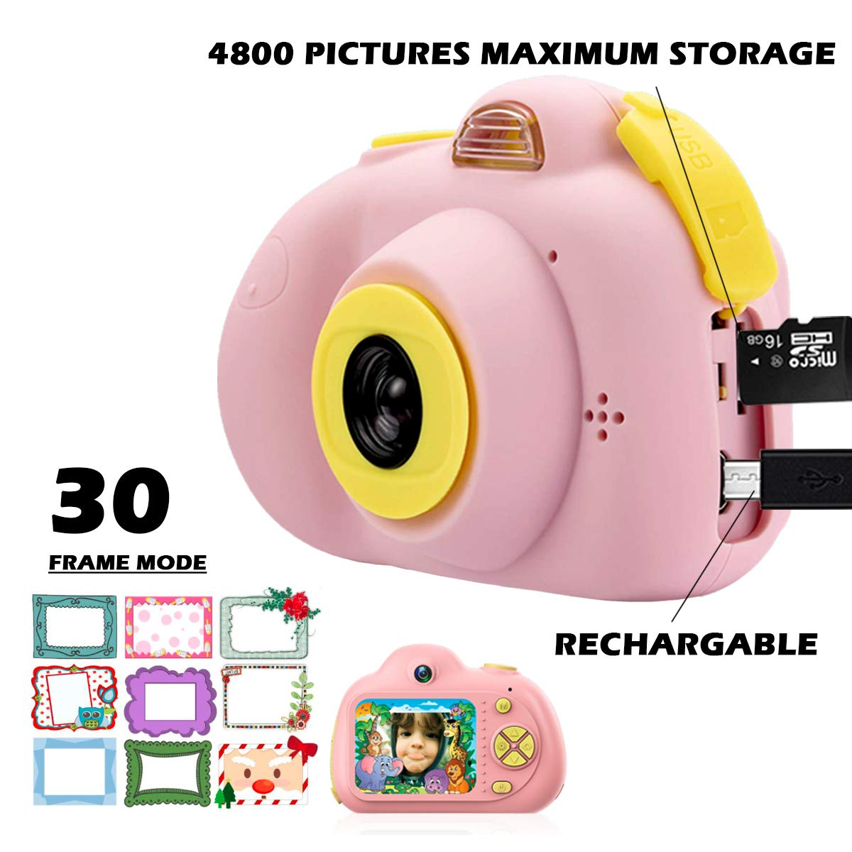 KIDOVE Kids Toys Fun Camera, Waterproof & Shockproof Child Selfie digital game Camcorder, 8MP 1080P dual camera Video Recorder, Creative Birthday Gifts for girls and boys, 16GB TF Card Included (Pink) by KIDOVE (Image #2)