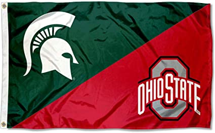 Amazon Com Michigan State Vs Ohio State House Divided 3x5 Flag Rivalry Banner Sports Outdoors