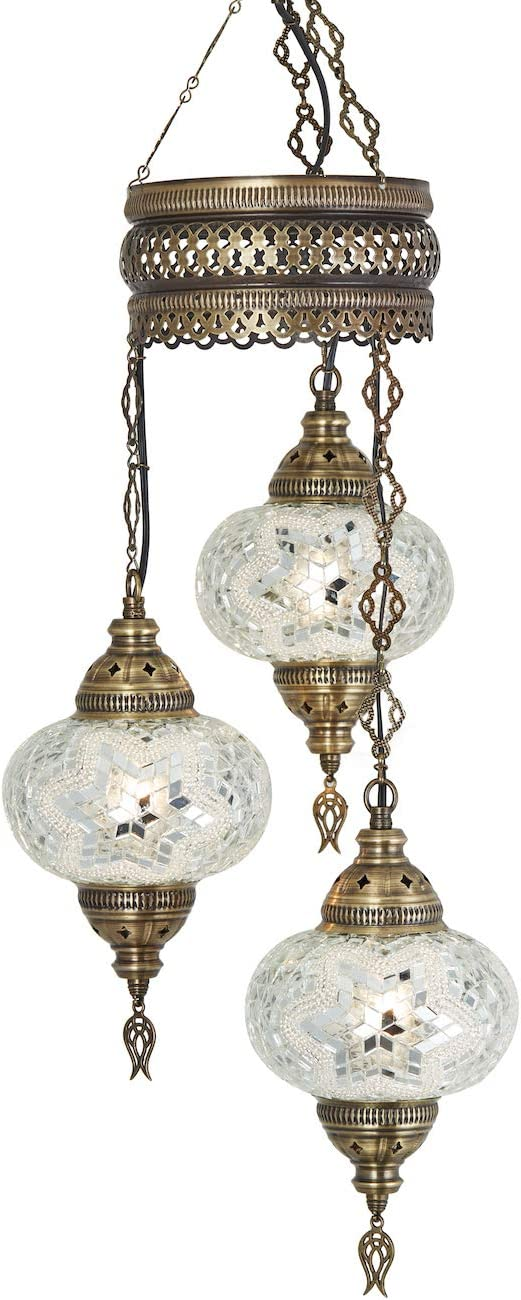 Demmex 2019 Turkish Moroccan Mosaic Hardwired OR Swag Plug in Chandelier with 15feet Cord Cable Chain 3 Big Globes Whites White Hardwired