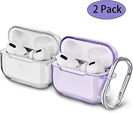 Amazon Com Airspo Airpods Pro Case Clear Airpods Pro Case Cover Soft Tpu Airpod Pro Protective Skin 2019 With Keychain Compatible Apple Airpods Pro Charging Case Clear Clear Purple Home Audio Theater