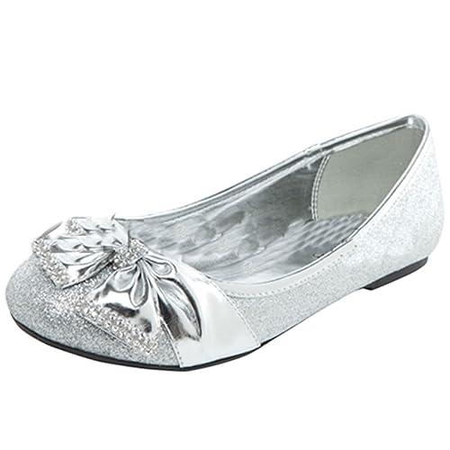 ba69fa95e6 Amazon.com | Lasonia Womens Flat Shoes with Bow and Rhinestone Accent (7,  Silver) | Flats