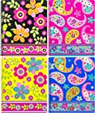Continental Accessory Corp. One Subject Notebook, Boho Boutique, 80 sheets, Assorted 4 Pack (4293)