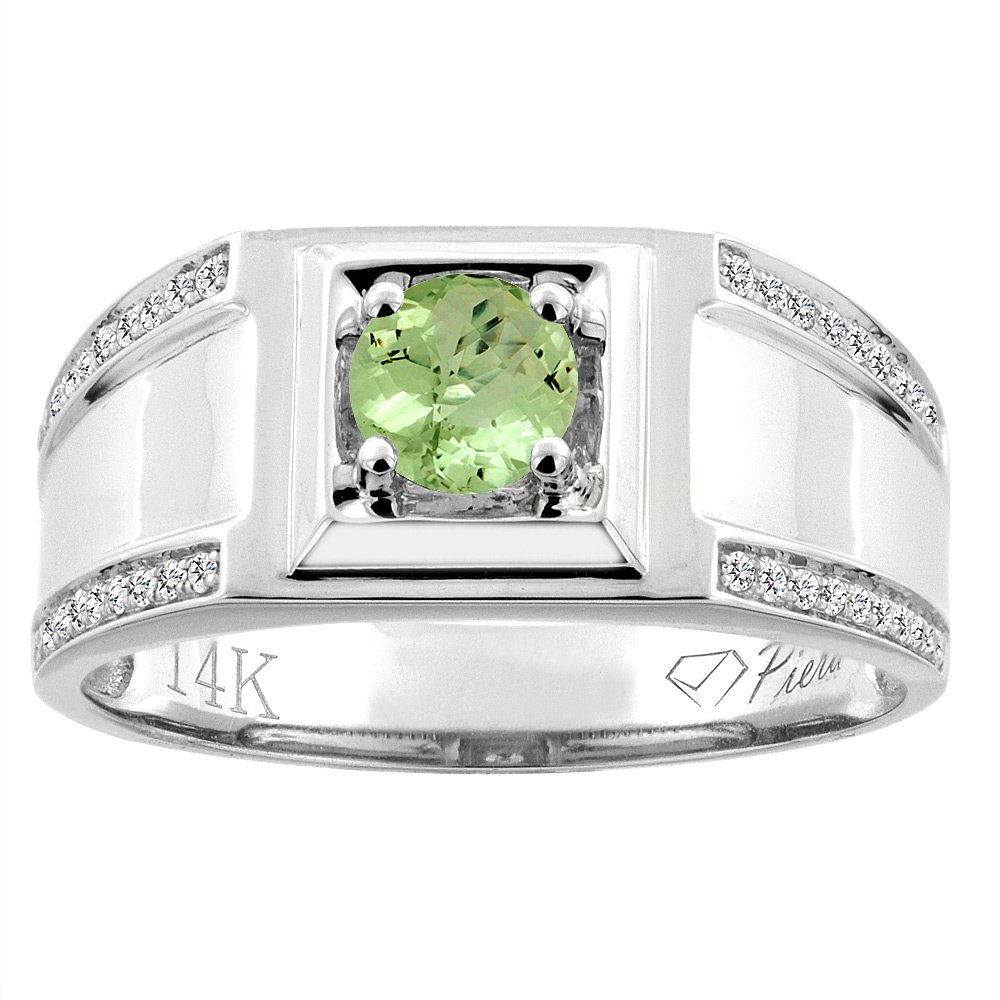 14K White Gold Natural Peridot Men's Ring Diamond Accented 3/8 inch wide, size 10.5