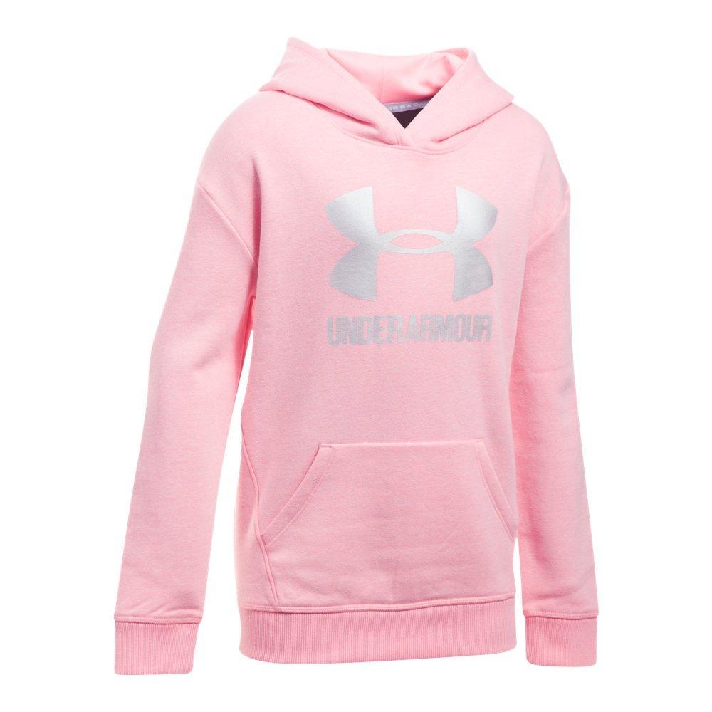 Under Armour Girls Thread Borne Fleece Hoodie,Pop Pink /Silver, Youth X-Small