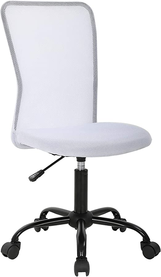 Amazon Com Ergonomic Office Chair Mesh Computer Chair Small Desk Chair Back Support Lumbar Support Modern Executive Adjustable Chair Mid Back Task Rolling Swivel Chair With Wheels Armless White Kitchen Dining