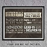 """The Lords Prayer""- Modern Scripture Wall Art Print- 8 x 10""- Typographic Print Ready to Frame. Home Décor-Kitchen-Dining Décor. Contemporary Christian Gift for Great Inspiration."