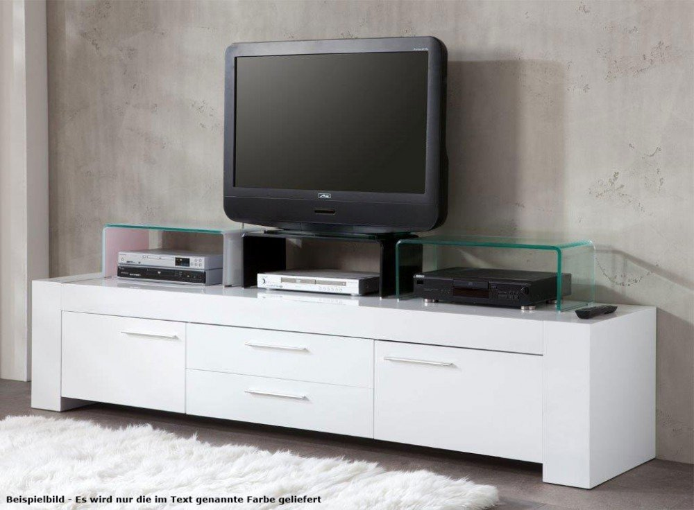 Tv schrank modern  TV-Schrank Glasaufsatz Monitorerhöhung Glas gebogen transparent ...