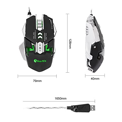 Sea Wit RGB USB Wired Gaming Mouse Up to 4800DPI,4 DPI Adjustment