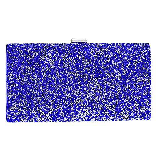 Diamond Evening Bag,Women Square Unique Clasp Clutch For Party Bridal Prom Blue
