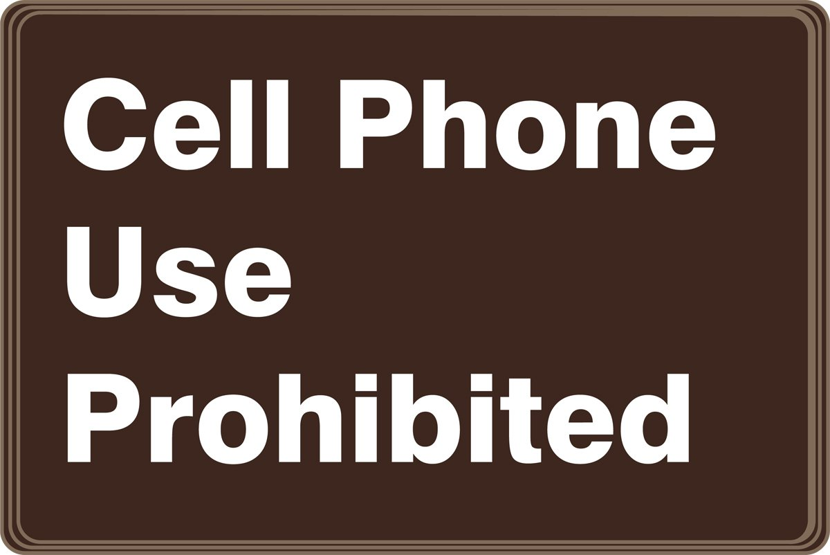 White on Brown Accuform PAR509 Architectural-Style Acrylic Plastic Deco-Shield Sign LegendCELL PHONE USE PROHIBITED 6 Length x 9 Width x 0.135 Thickness