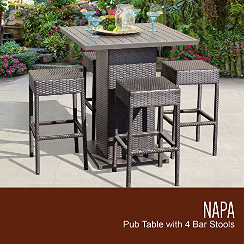 TK Classics 5 Piece Table Set with Backless Barstools Outdoor Wicker Patio Furniture ()