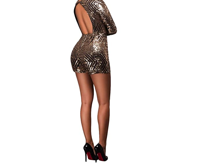 bd26def5b9 Amazon.com  Lonely Store Black Gold Sequin Jumpsuit Sexy V-Neck Women High  Waist Rompers Ladies Long Sleeve Playsuit  Clothing