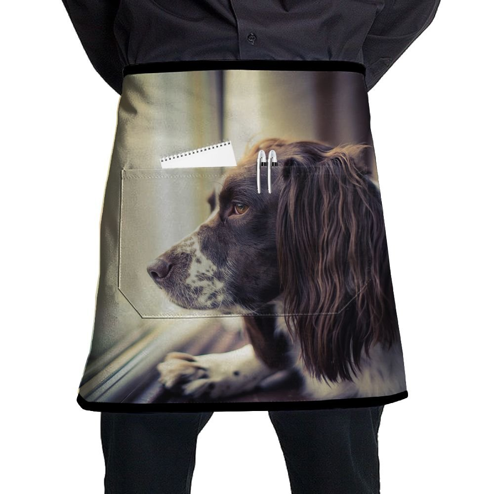 Jaylon Waist Short Apron Half Chef Apron Dog Window Cooking Apron with Pockets Home Kitchen Cooking Pinafore