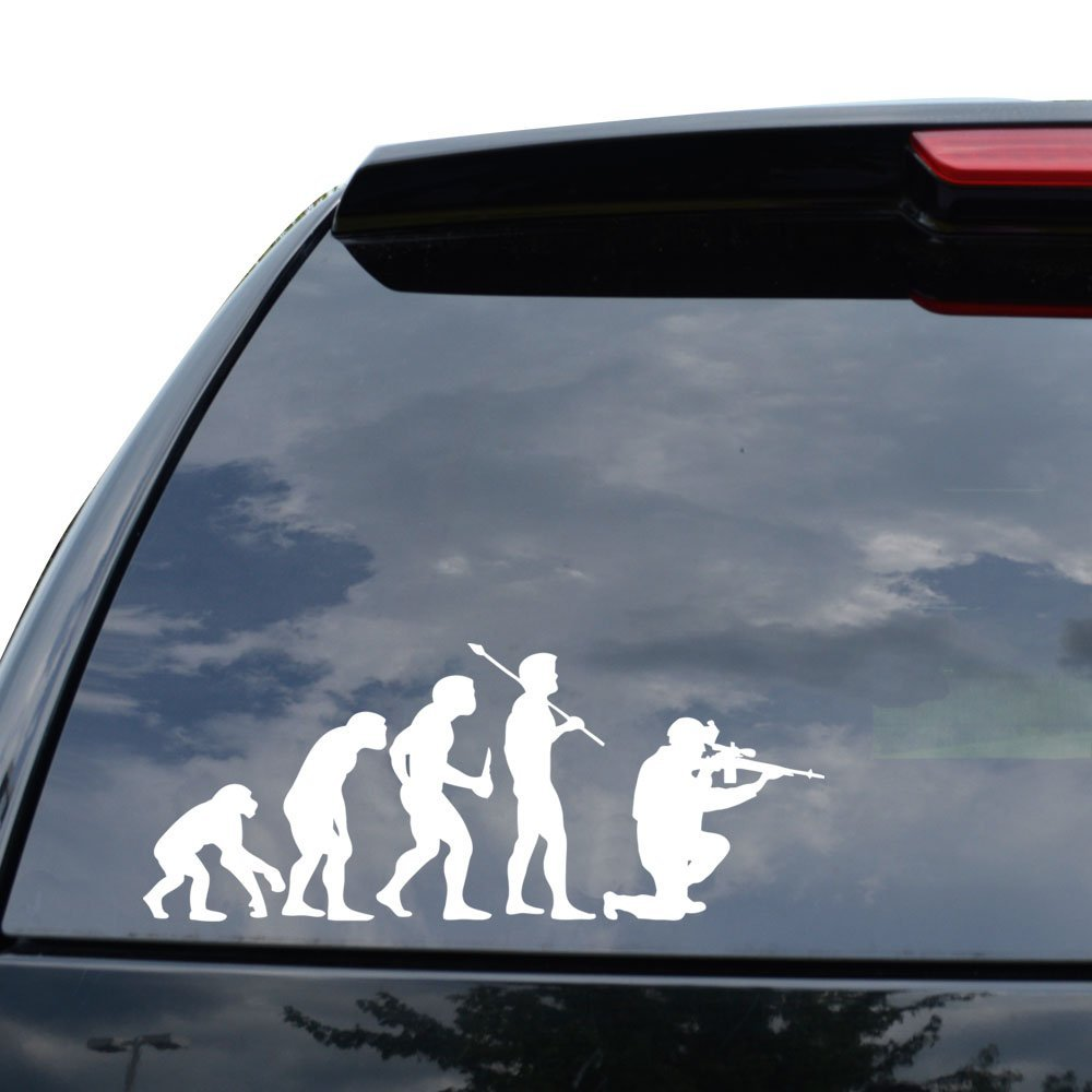 Theory of evolution sniper military decal sticker car truck motorcycle window ipad laptop wall decor size 18 inch 46 cm wide color matte black