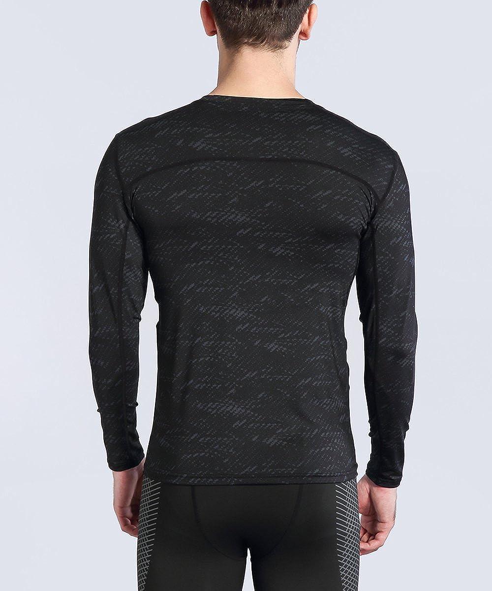 AMZSPORT Maglia a Manica Lunga Compression da Uomo Sport Baselayer Asciugatura Rapida Lunga Camicia all-Season