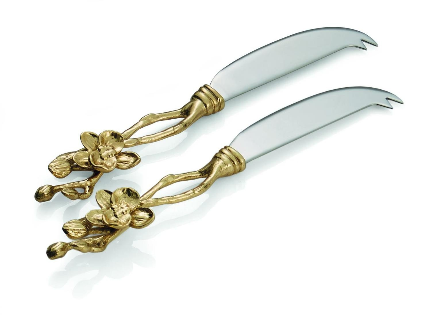 MICHAEL ARAM Golden Orchid CHEESEKNIFE SET OF TWO 111956 by Michael Aram