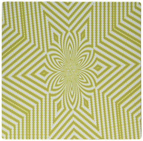 3dRose LLC 8 x 8 x 0.25 Inches Mouse Pad, Textile Pattern Lime Green and White Large Star (mp_18473_1)