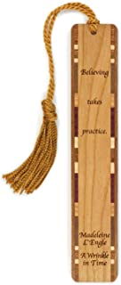 """product image for A Wrinkle in Time Quote""""Believing Takes Practice"""" by Madeleine L'Engle - Engraved Wooden Bookmark with Tassel - Search B076VX3472 to See Personalized Version."""