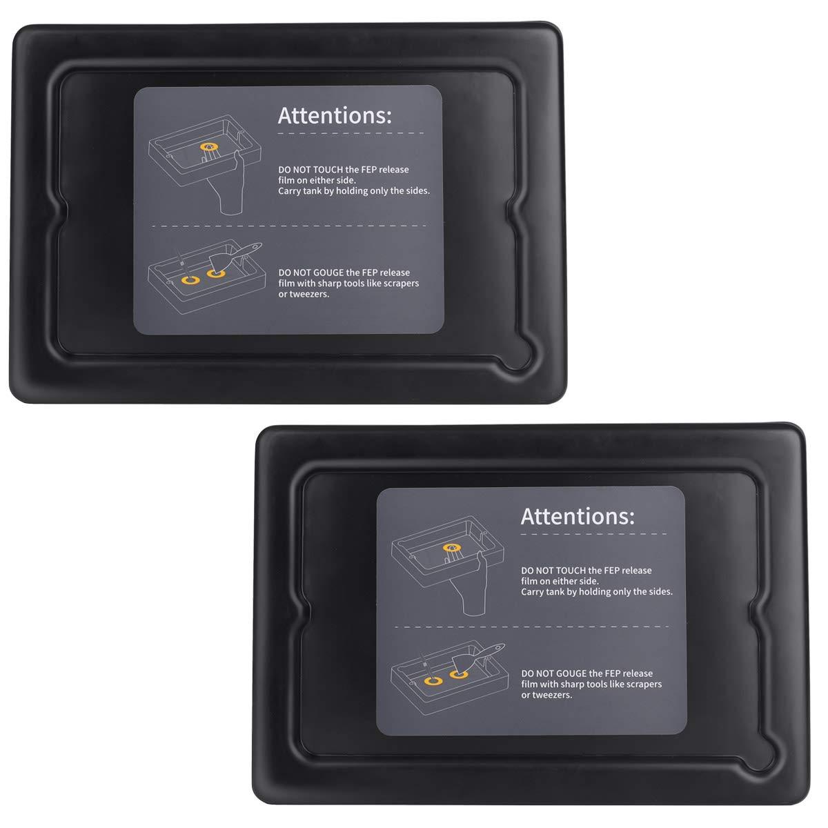 ELEGOO 2 PCS Plástico Tanques de Resina para Impresora 3D ELEGOO Mars con 2 PCS Tapas y Películas FEP Preinstaladas, Compatibles con Anycubic Photon, Photon S y Epax X1