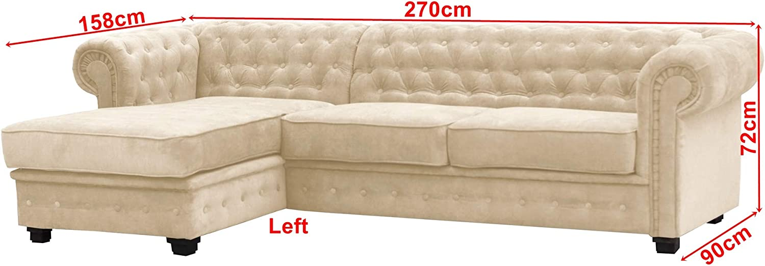 Chesterfield Style Corner Sofa Set 3+2 Seater Armchair Cream Fabric 2 Seater