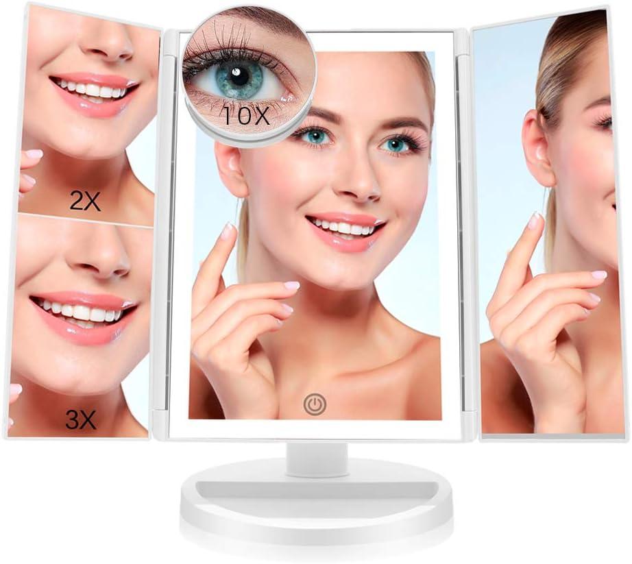 FASCINATE Espejo Maquillaje con Luz,Tríptica Aumentos 10x, 3X, 2X ...