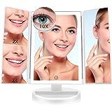 FASCINATE Espejo Maquillaje con Luz,Tríptica Aumentos 10x, 3X, 2X,1x Magnetismo Extraíble Espejo 10 Aumentos Rotación…