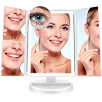 FASCINATE Espejo Maquillaje con Luz,Tríptica Aumentos 10x, 3X