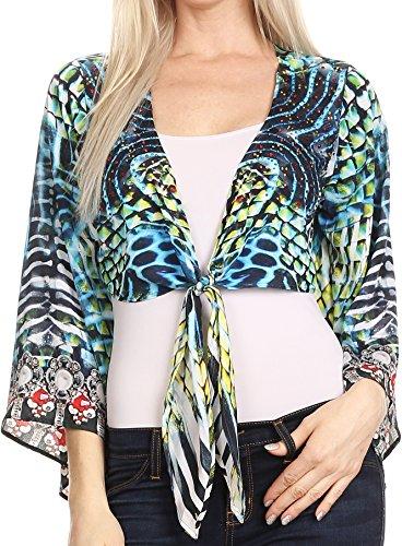 Sakkas P20 - Amita Printed Embellished Kaftan Front Tie Kimono Sleeve Crop Top Shrug - 17032-Turq/Green - OS