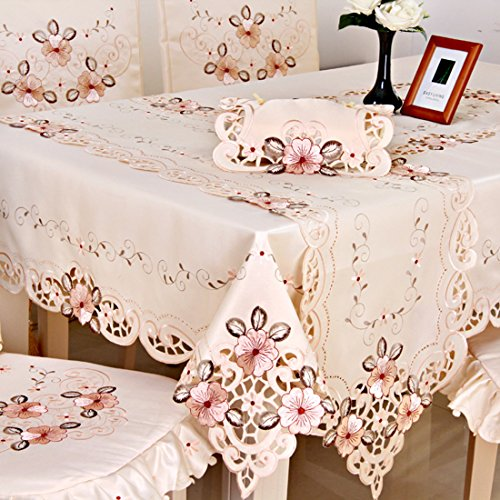Damask handmade cutwork embroidery pink floral party tablecloth rectangular 71 x 106 inch approx