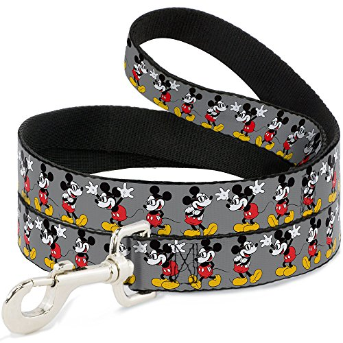 Buckle-Down Pet Leash - Mickey Mouse w/Glasses Poses Gray - 6 Feet Long - 1/2