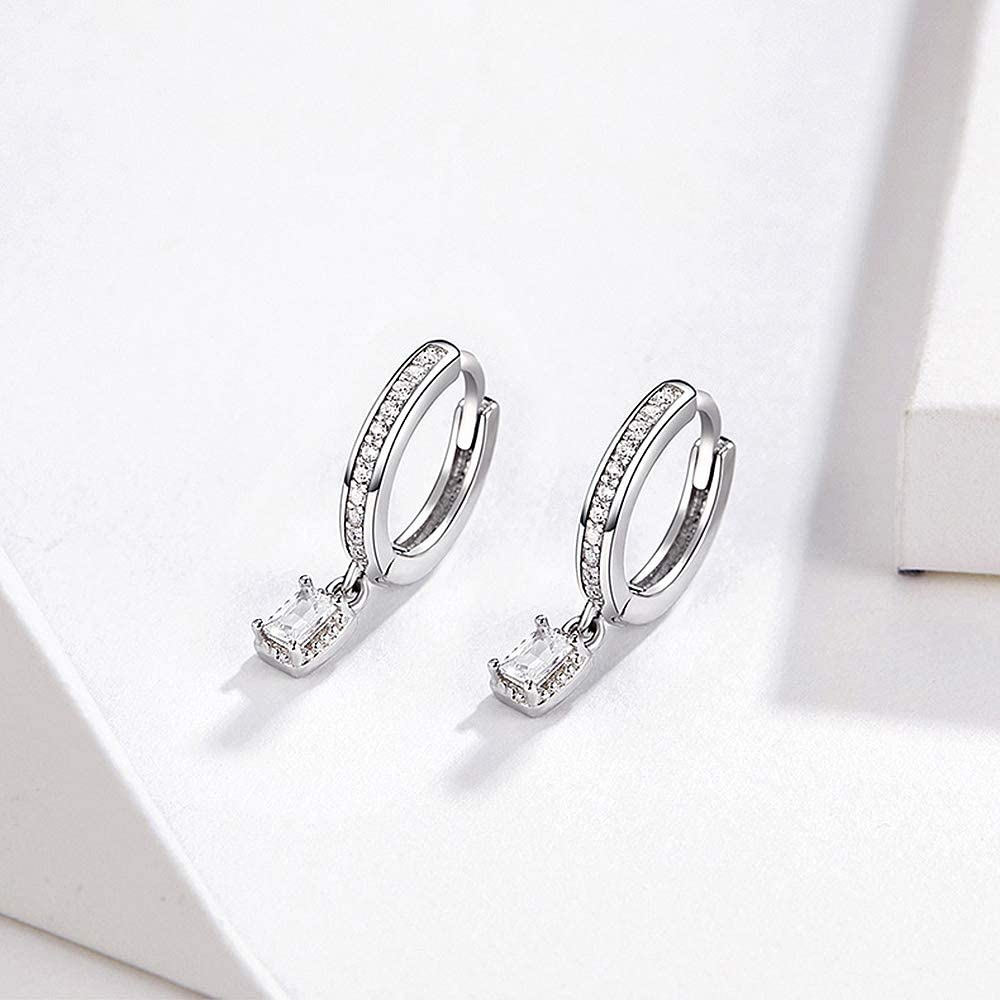 CZ Crystal Drop Dangle Hoop Earrings for Women Girls Sterling Silver 18K White Gold Plated Charms Pave Cubic Zirconia Square Diamond Small Cartilage Tragus Stud Sleeper Earrings Hypoallergenic Wedding