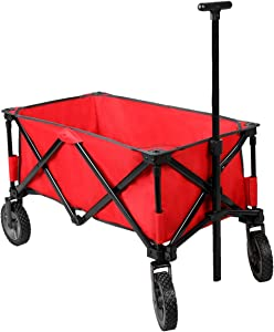 PORTAL Quad Folding Collapsible Utility Wagon Organizer with Telescoping Handle Big 7 inches Wheel for Sports Camping, Red, Support 300lbs