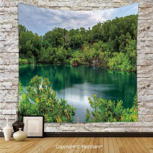 Tapestry Wall Hanging Pulau Ubin Singapore Lagoon Tropical Climate Rainforest Freshness Growth Lush Tapestries Dorm Living Room Bedroom(W39xL59)