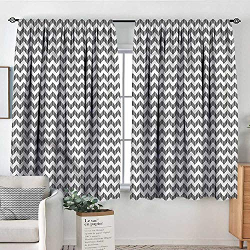 """Price comparison product image RenteriaDecor Black and White, Backout Curtain Chevron Pattern 104""""x108"""" Patterned Drape for Kids Bedroom"""
